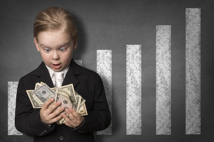 A young boy in a suit is holding a handful of cash and looking astonished, while standing in front of a bar chart showing rising sums.