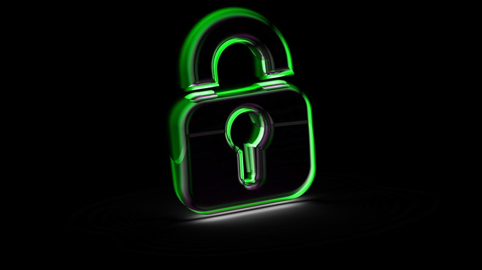 Rendering of a green padlock icon on a black background.