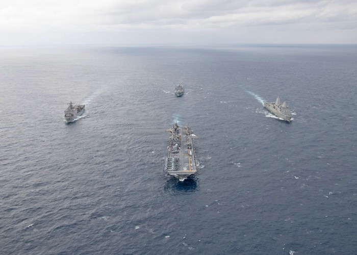 USS America and other warships steaming in formation