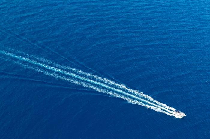 A boat in the Mediterranean.