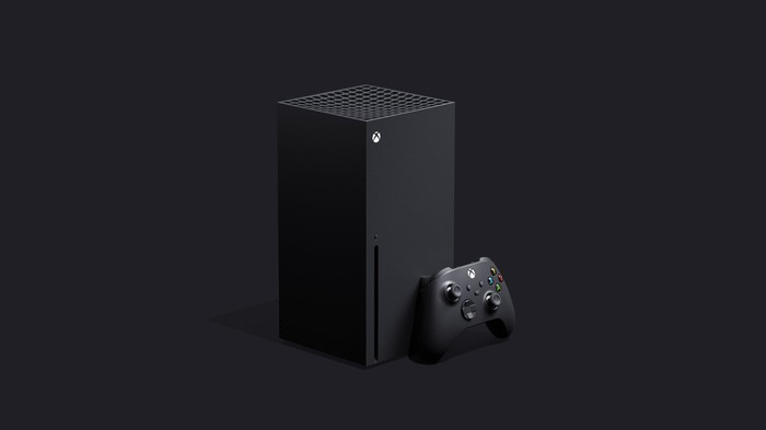 Microsoft's Xbox Series X console and a controller.