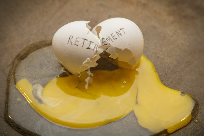 A cracked egg with the word retirement written on it.