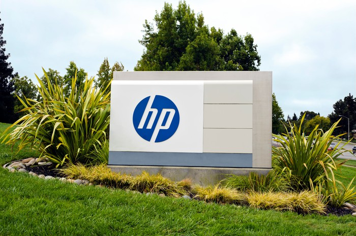 HP corporate logo on an office sign