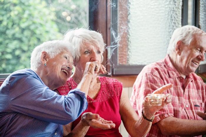 Seniors smoking cannabis.