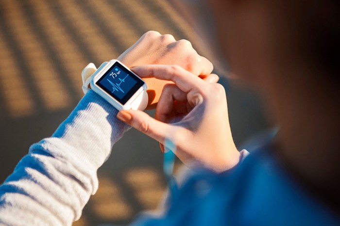 Monitoring heart rate on a watch.