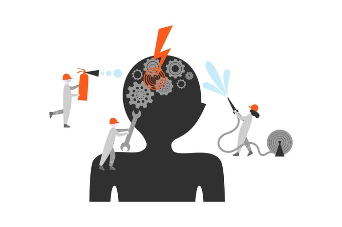 Graphic of workers trying to fix cogs in the brain.
