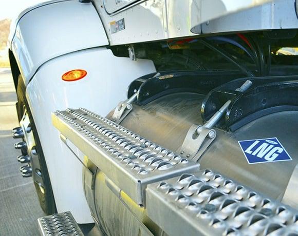 LNG fuel tank on a heavy-duty truck.