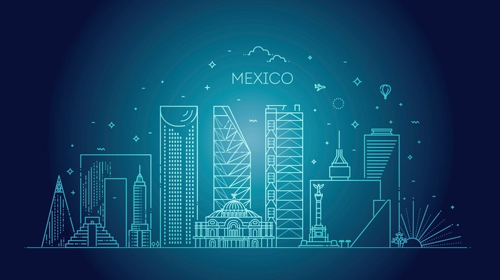 A banner featuring an illustration of Mexico City.