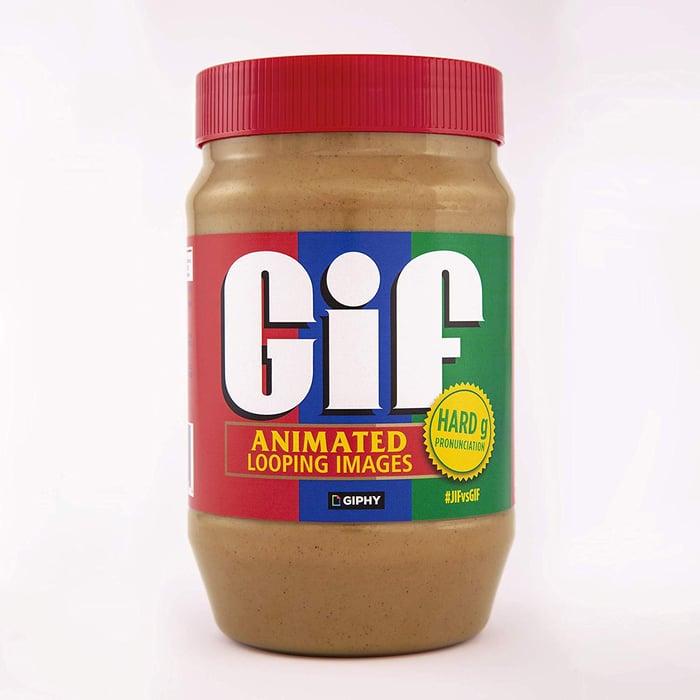 Jif peanut butter jar labeled Gif