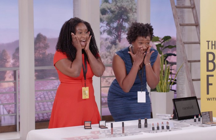 Two women selling makeup on TV