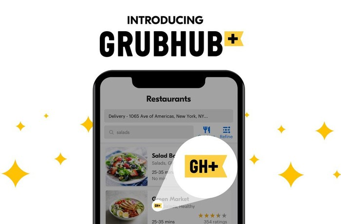 Grubhub+ screen on a phone with GH+ highlighted