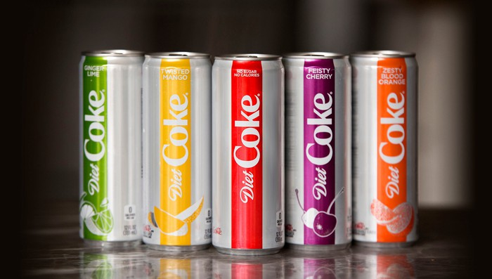 Five cans from sodas in the Diet Coke family.
