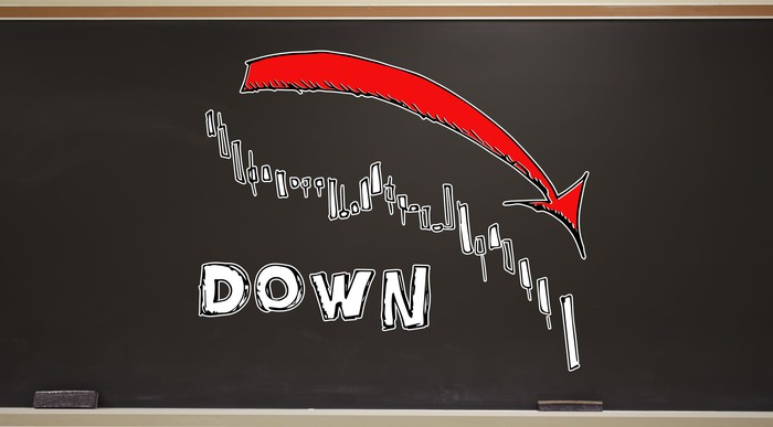 Chalkboard drawing of arrow going down over whe word DOWN