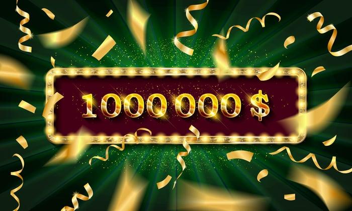 $1 million banner with confetti