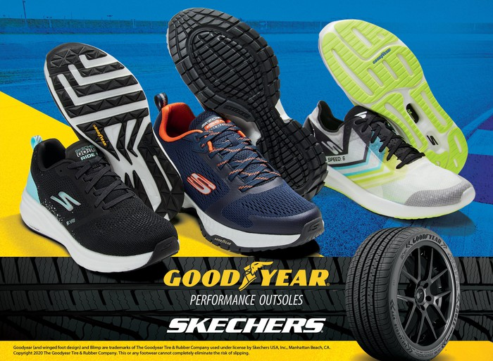 Skechers sneaker and a Goodyear tire.