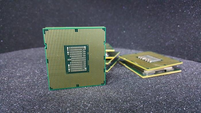 Intel processors on a black table.