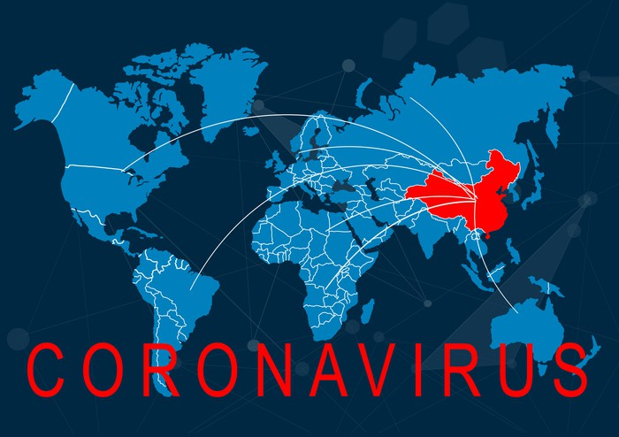 Blue world map with China in red, word CORONAVIRUS and vectors leading away from China