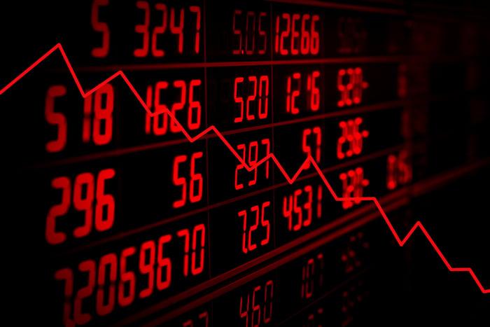 Downward trend arrow with stock ticker board in background