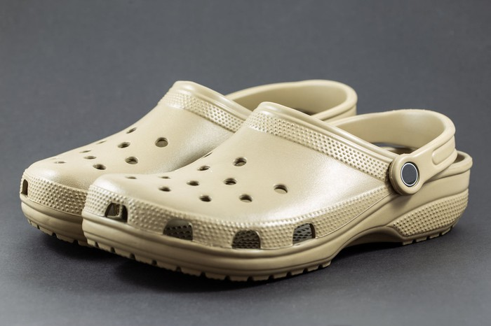 Photograph of a pair of foam clog shoes
