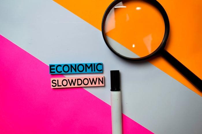 Economic slowdown text written on sticky notes.