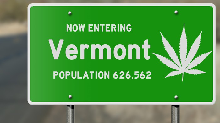 Vermont road sign with marijuana leaf.