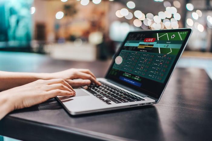 Laptop displaying stock prices