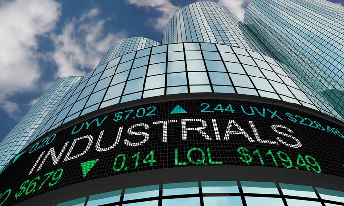 Industrial stocks on a ticker board on the side of a building