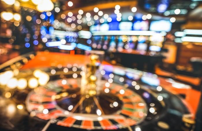 Wide view of a casino floor.