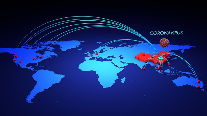 3D global map showing coronavirus vectors spreading out from China