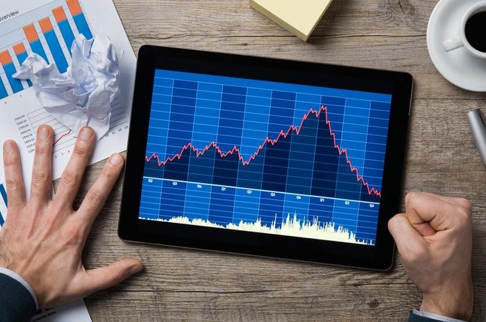 A fist slams on a table as a tablet shows a crashing stock chart.