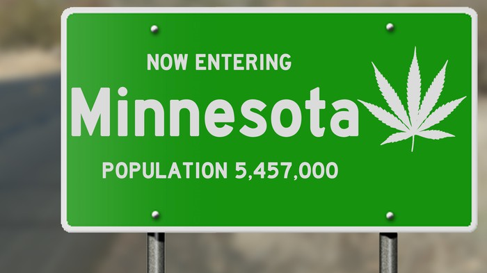 Minnesota road sign with cannabis leaf.