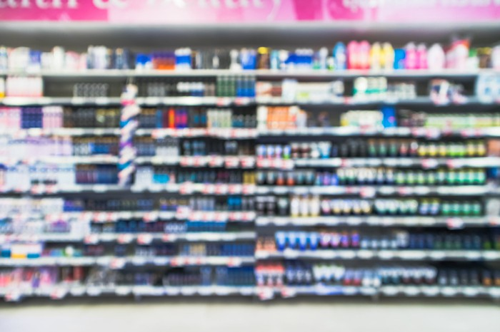 retail shelf aisle with consumer goods products