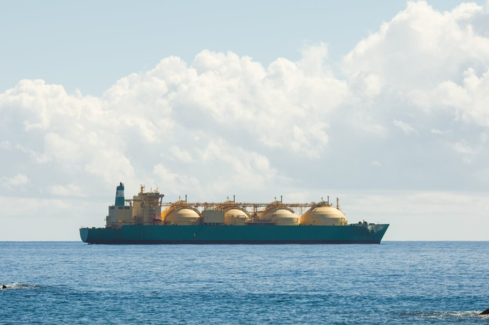 LNG tanker transportation vessel at sea.