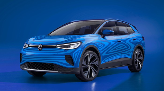 The Volkswagen ID.4, a five-passenger electric crossover SUV, in near-final prototype form.