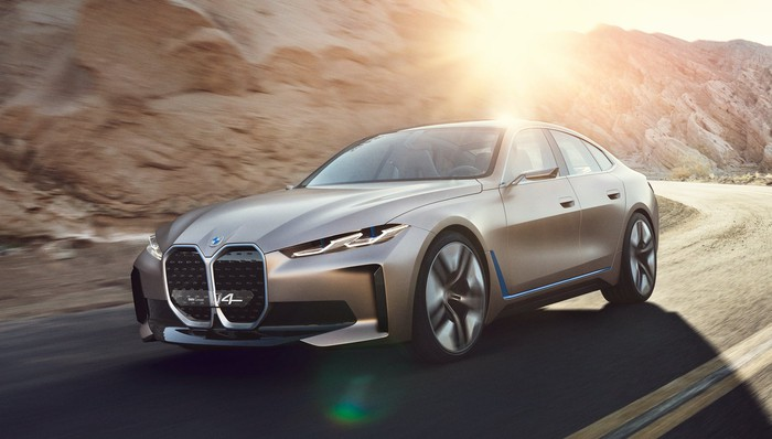 The BMW Concept i4, a sleek four-door electric luxury sports sedan.