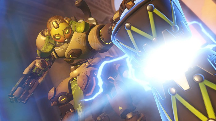 The character Orisa from Activision Blizzard's Overwatch.