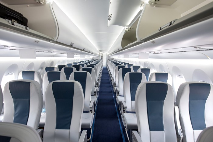 Empty seats in an airliner.