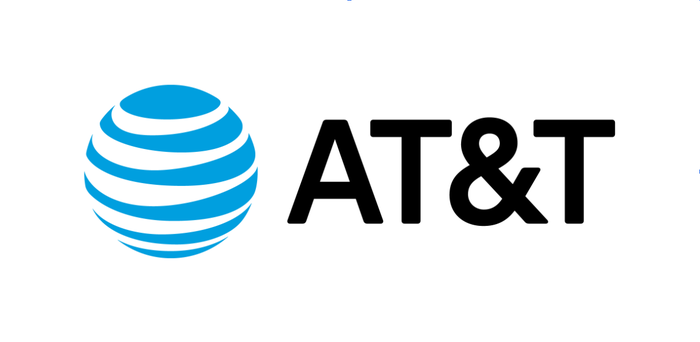 The AT&T logo, which is a globe segmented by blue horizontal lines next to the letters A, T, ampersand, T.
