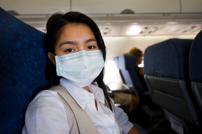 A traveler on an airplane wearing a mask.