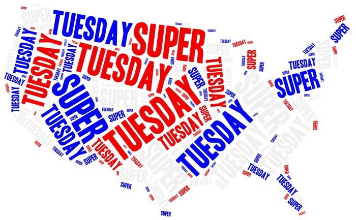 Super Tuesday printed in red and blue on top of a U.S. map