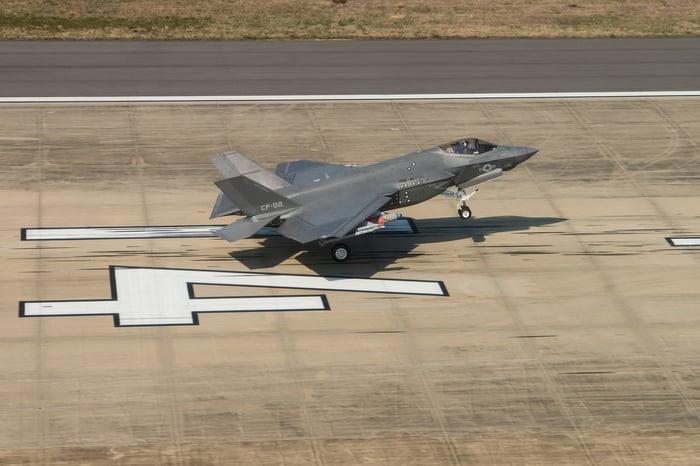 An F-35 lands on a runway.