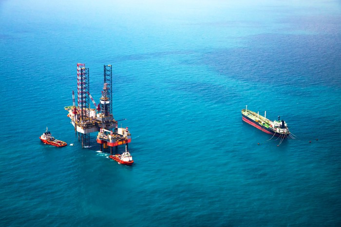 An oil rig operating in the Gulf of Mexico.