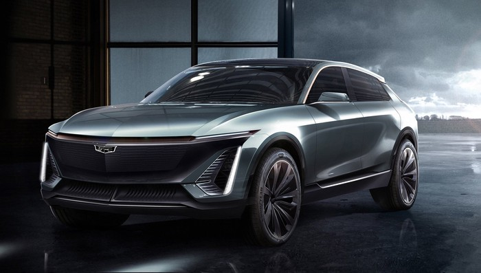 An artist's rendering of the Cadillac Lyriq, a sleek electric luxury SUV.