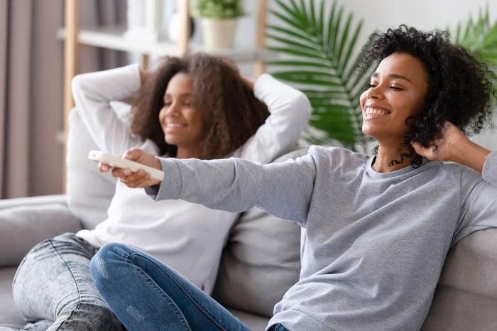 Two women watching TV