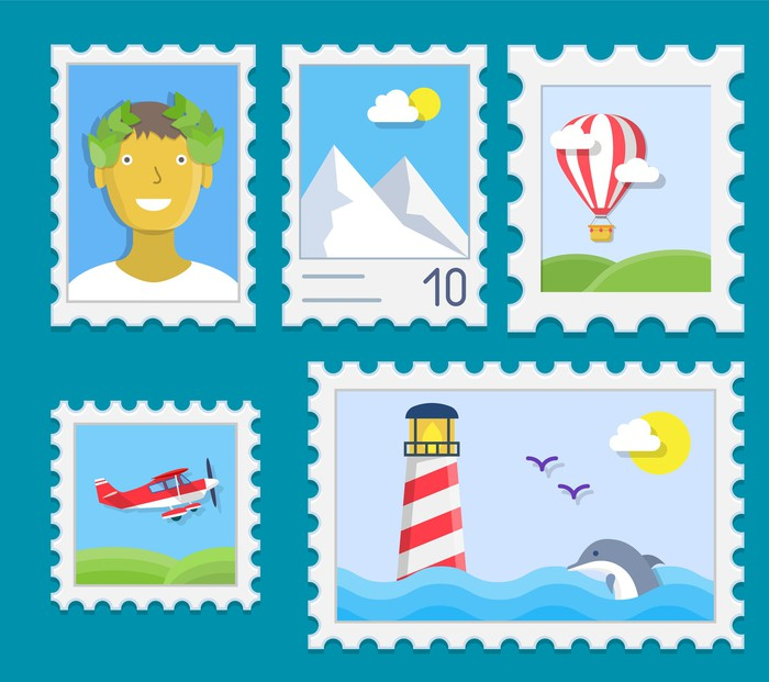 Five depictions of (not real) stamps: one with an airplane, one with a hot air balloon, one with a dolphin swimming in the ocean with a lighthouse in background, one with a mountain, and one with a man with a wreath on his head.