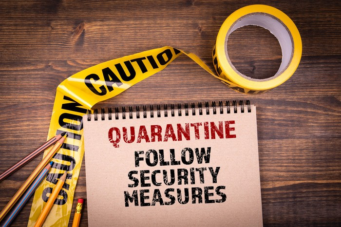 A sign saying Quarantine Follow security measures is shown on a wooden surface near yellow caution tape.