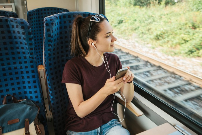 Young woman riding in a train as she listens to something via headphones plugged into her smartphone