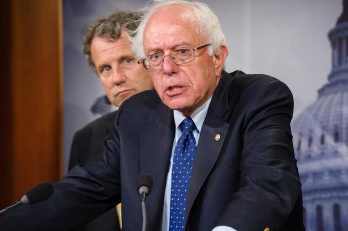 Senator Bernie Sanders speaking with reporters.
