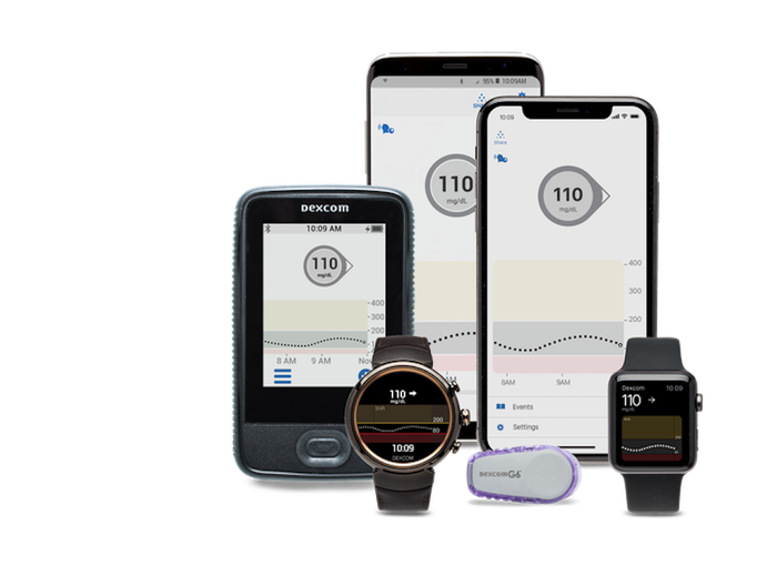 The G6 continuous glucose monitor and various smart watches and phones.