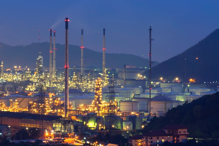 An LNG project is pictured at dusk.